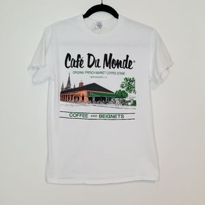 Cafe Du Mond graphic tee white small